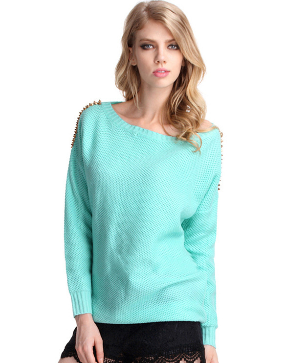 Hot Green Fashion Loose Lady Winter Sweater,2015 New Trend Winter O Neck Casual Knit Fresh Sweety Pullover Green Women Sweater
