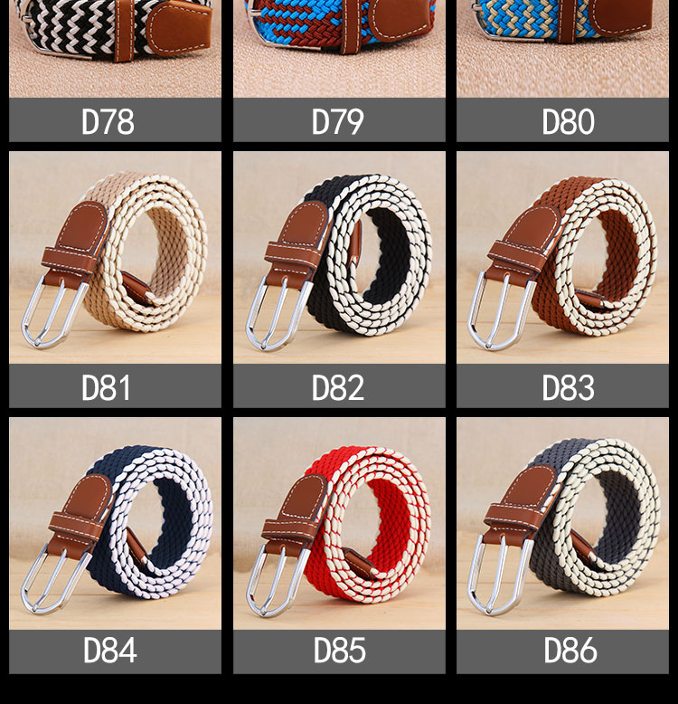 yd043 Adult Multicolored Elastic Braid Belt