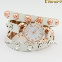 newest design wrap strap watches with stone for girls