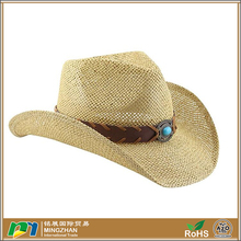 Shapeable Straw Western Cowboy Hat, Vegan Leather Trim W/ Bead Design, Cowgirl