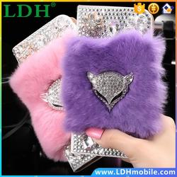 for Galaxy S6 Edge Bling Diamond Fox Rabbit Hair Fur Case for Samsung Galaxy S6 Edge PU Leather Wallet Stand with CardSlot Cover