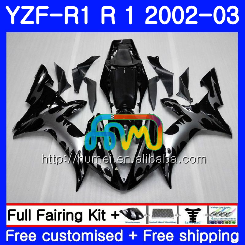 Body For YAMAHA Silver flames YZF 1000 YZFR1 <strong>02</strong> <strong>03</strong> YZF-1000 Bodywork 99HM1 YZF R 1 YZF <strong>R1</strong> <strong>02</strong> <strong>03</strong> YZF1000 YZF-<strong>R1</strong> 2002 2003 <strong>Fairing</strong>