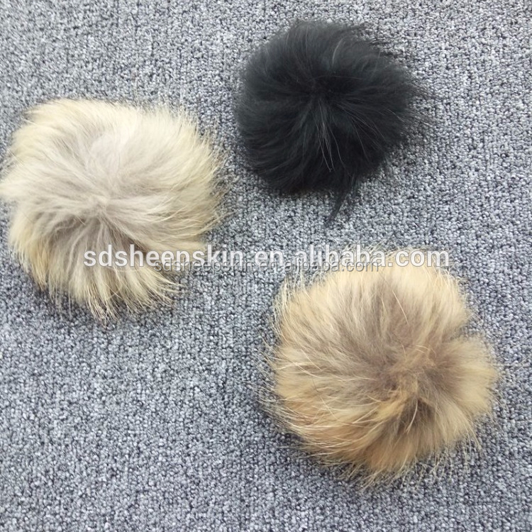 natural raccoon fur ball/fur tail/fur ball keychain
