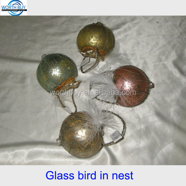Hot sale in USA vintage glass bird in nest ornaments, Christmas tree glass ornament