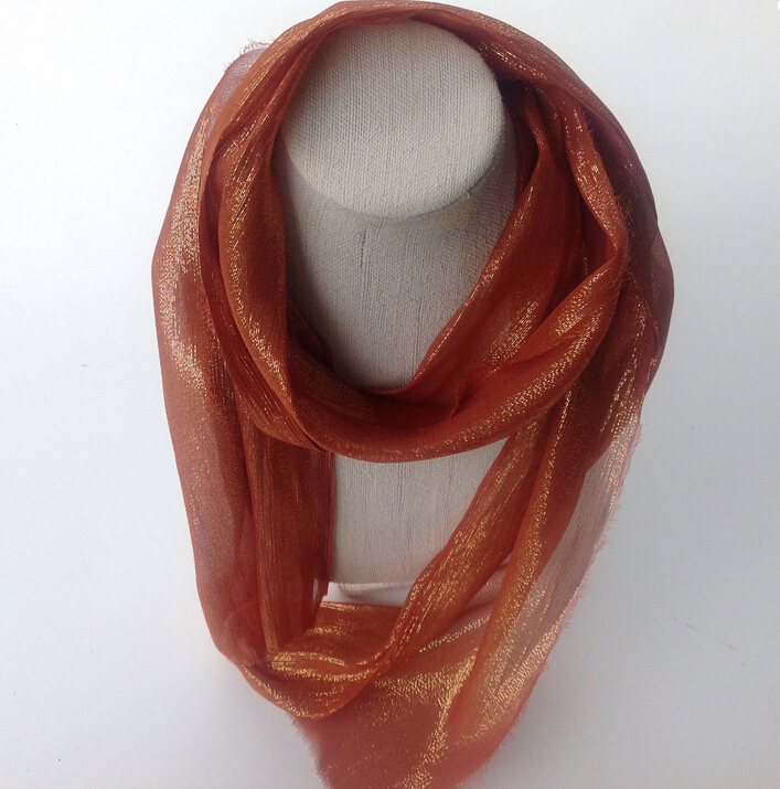 Handmade Rust Gold Lurex Morocco Shimmer fabric Silk Long Scarf