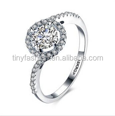 18k white gold plated copper facted AAA zircon wedding band ring