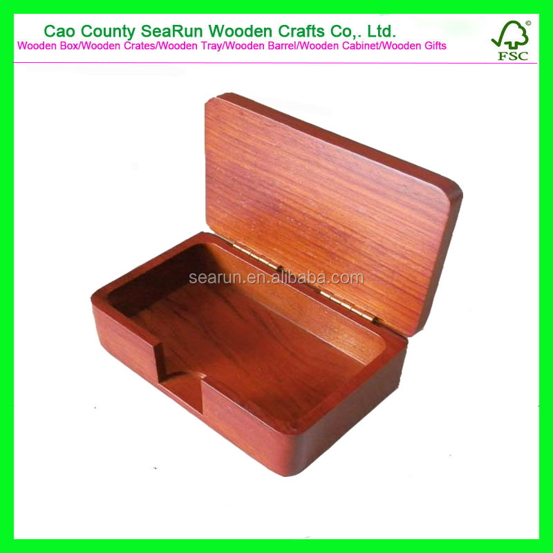 Business Card Wood Box, New Design Wooden Storage Box with Hinged Lid