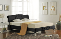 Modern Design Double Size Black PU Faux Leather Sleigh Bed 1841
