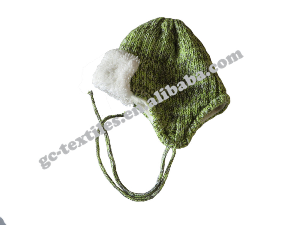 Green Crochet knitting funny baby crochet acrylic beanie Children knitted winter hat cap
