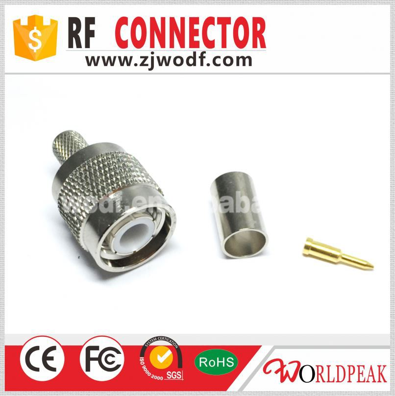 TNC plug type straight crimp brass for LMR240 rf connector
