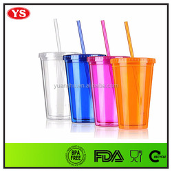 16oz bpa free plastic double wall cool cup with straw