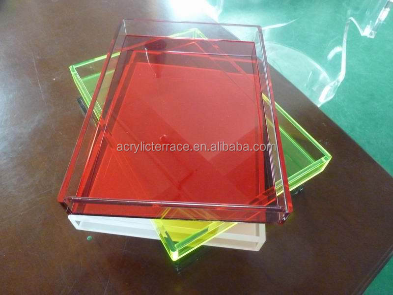 Lucite Acrylic Tray Butler Tray Colorful