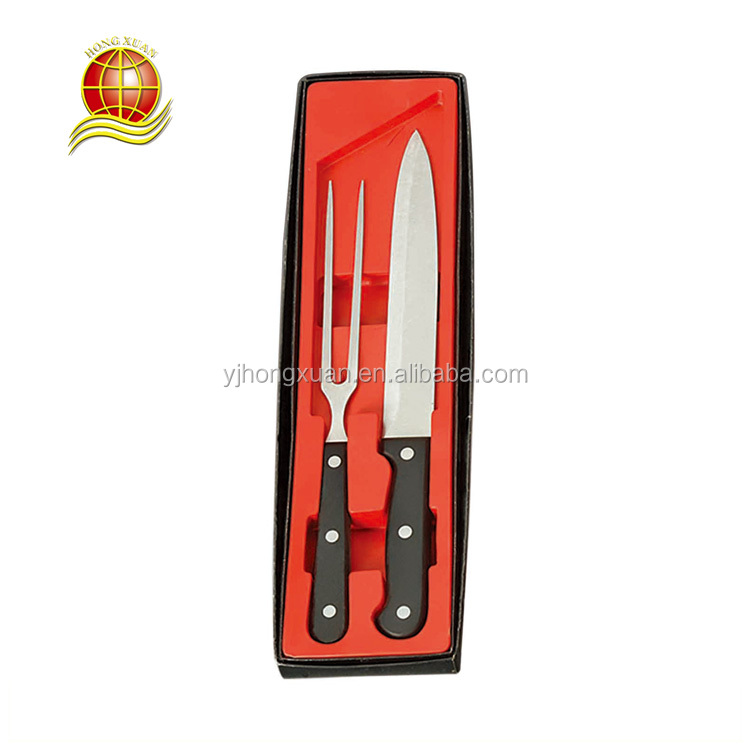 Hot Sell Classic Plastic Stainless Steel 2pcs Cutlery Carving Set Knife and Fork