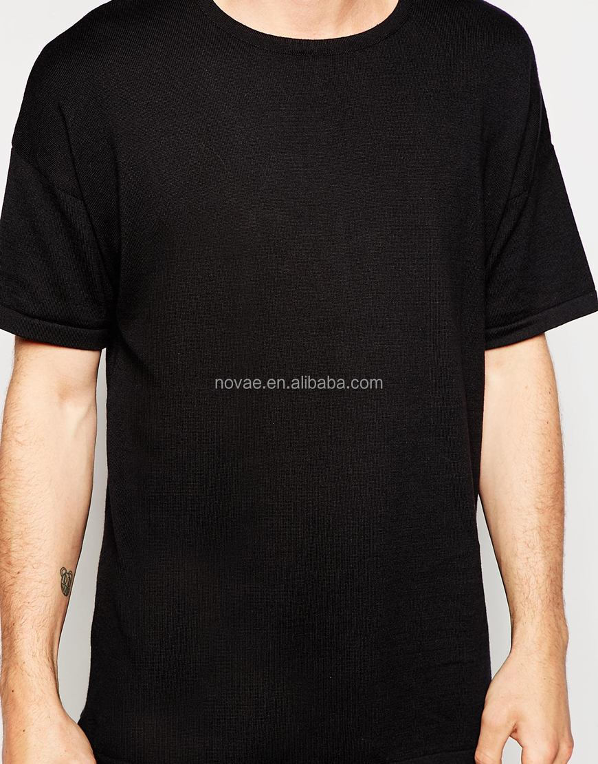 Men Longline Knitted T Shirt 2015 China Manufacturer