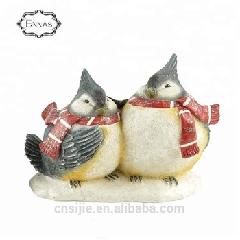 Christmas hot design resin red color bird figurine, love birds painting
