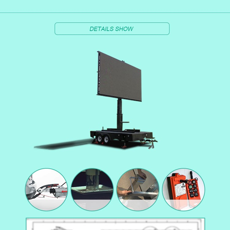 2016 Hot Selling truck mobile advertising led display trailer
