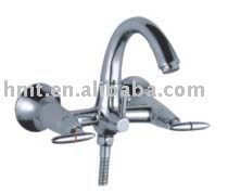 Swan Neck Bathtub Faucet, White Porcelain Lever Handle
