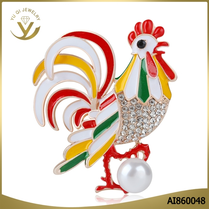 2017 New arrival colorful cock animal Jewelry zircon animal pin brooch