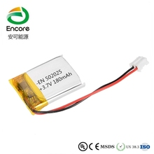 China top 10 battery manufacturer EN 502025 3.7V lithium polymer battery 002025 180mah