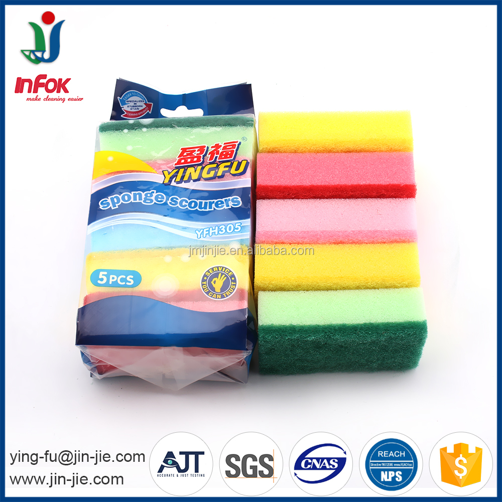 Customized wholesale promotional household colorful kitchen sponges foam with abrasive fiber