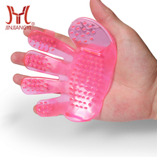 Pet grooming tool soft rubber palm hand pet massage brush dog cleaning glove dog bath massage comb