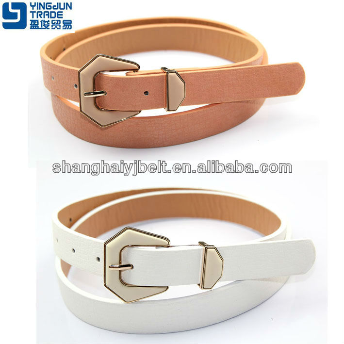 FASHION WOMAN SANKE TRANGLE BUCKLE WHITE PU BELT