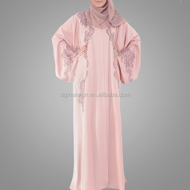 Factory Made Good Quality Women kaftan Kimono Pink Abaya Fashion Pakistani Burqa Beautiful Embroidery Pattern Dubai Abaya