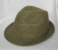 zequeen Europe style green tweed check fedora trilby hat