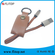 Luxury man genuine leather D ring usb cable keychain for smart phone
