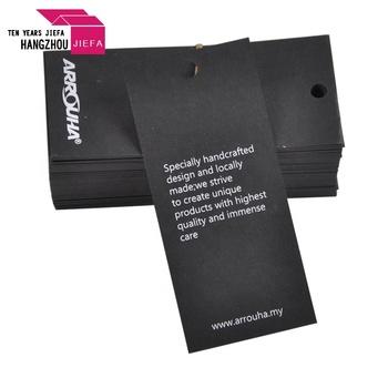 Custom Black Card Clothing Hang Tag Logo Hang Tag Printing