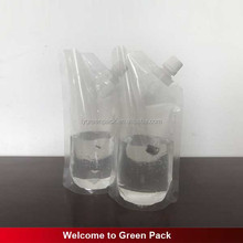 Food safe unbreakable clear drink wine flask spout bag / plastic wine bag with spout
