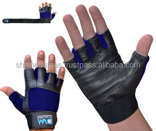 Have one to sell? Sell it yourself DAM GYM WEIGHT LIFTING GLOVES BODY BUILDING WORKOUT REAL LEATHER BLACK BLUE NEW