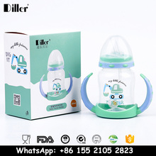 Diller BPA Free Eco-Friendly Plastic Juice School Children Kids Drinking Water Bottle With Straw