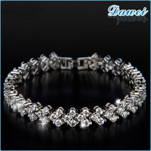2015 High quality silver zircon tennis bracelets with alloy material bangle