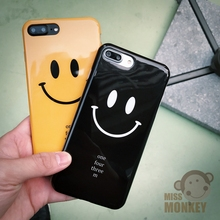 Customized Cute Smile Face Cell Phone Case For iPhone 7 7Plus Soft IMD Funny Cartoon Letter Back Cover CA4007
