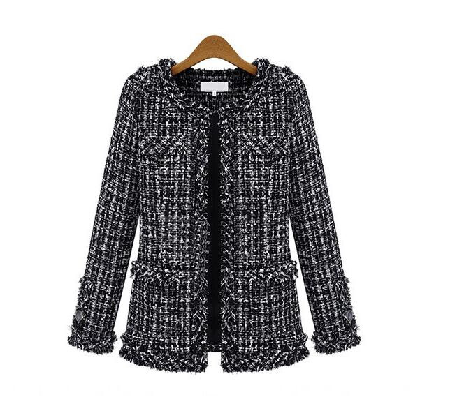 Garment Factory 2017 newest design luxury style wholesale woman's winter coat tweed jacket