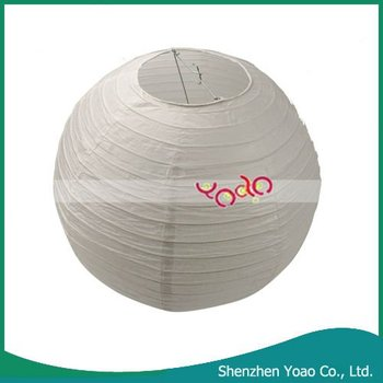 Chinese Paper Lantern With Metal Frame White