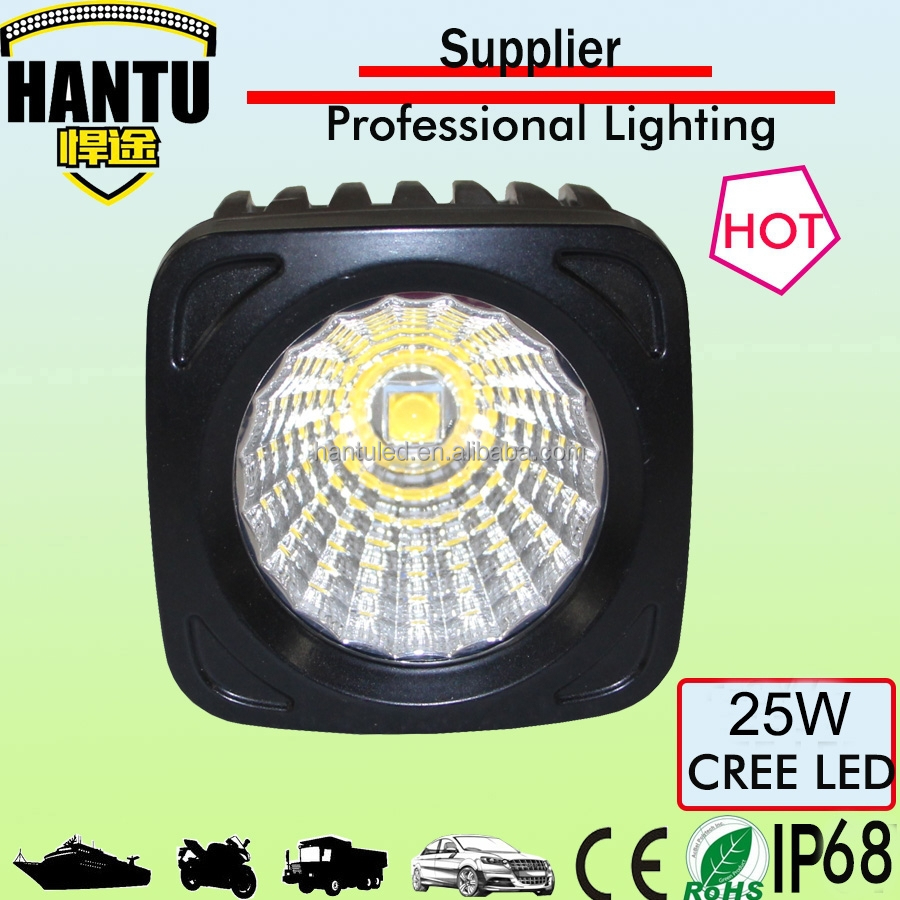 New design square working light 4.3'' 25w flood led work light for offroad autobike,truck fork lift in China