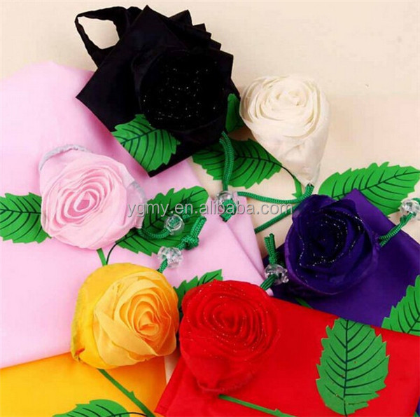 Thickening Portable Cute Rose flower wedding gift Bags Eco Reusable Shopping Bag Tote Folding Foldable Bag