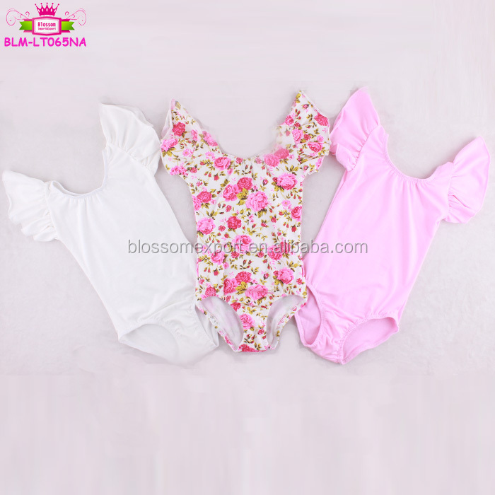 Baby clothes fall blue floral toddler leotard flutter sleeve wholesale dance ballet scoop neck girl's one piece knit leotards