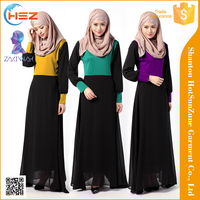 Zakiyyah 040 Latest 2016 muslim fashion dress with eid Long sleeves muslim women abaya Compound al haramain thobe