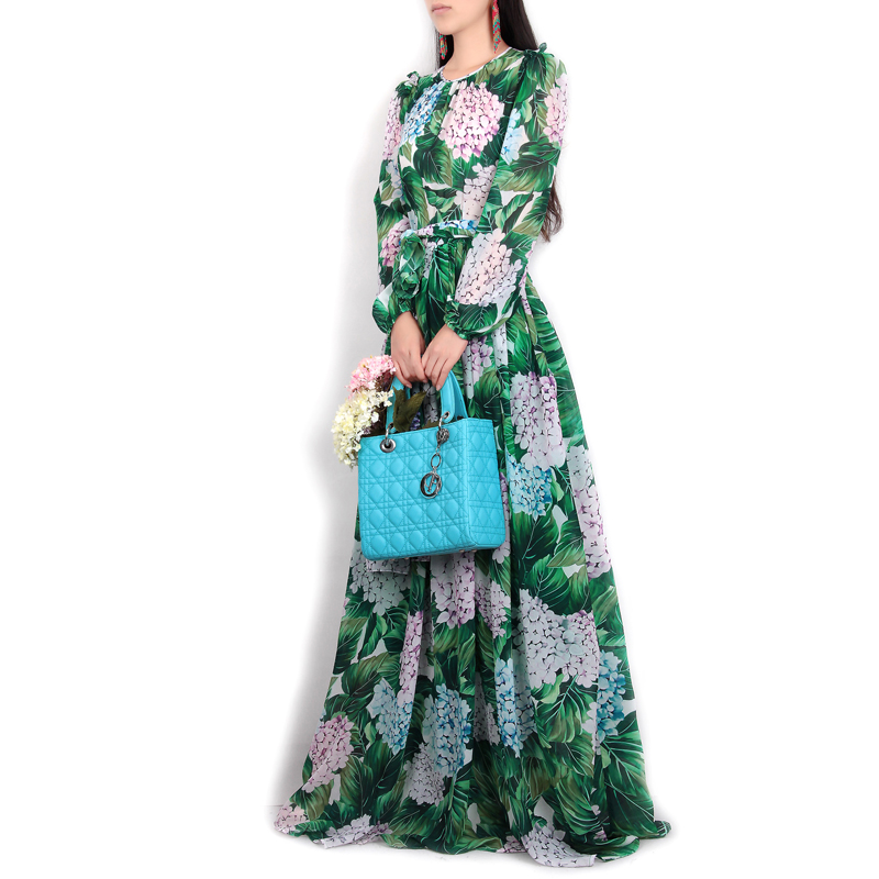 High-quality-new-spring-summer-2017-women-runway-maxi-dress-flowers-green-leaves-printing-Beach-Casual
