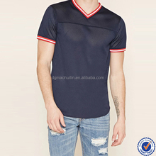 Custom stripe trim athletic blank men's cotton mesh t shirt