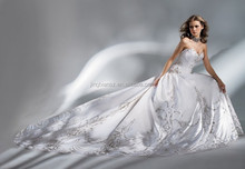 graceful luxurious full embroidery long train wedding dress OW50