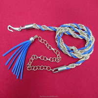 Fashion Ladies Pu Braided metal Chain Dress Waist Belt with Tessel Buckle for Women
