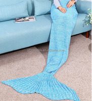 Hot sale many colors cotton Mermaid Tail shape blanket