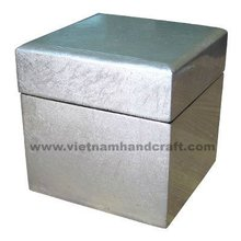 Quality eco-friendly handcrafted vietnamese lacquer box. Inside in black, outside in white silver leaf