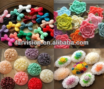 Kawaii flat back resins flower cabochons cameos, resin food crafts cabochons