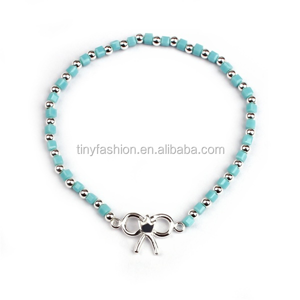 Jewelry Supplier Unique Princess Knot Copper Charm Grecious Women Accessories Tiny Sea Glass Beads Charm Bead Bracelet