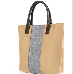 Women Famous Brand Japanese Style Simple Design Patchwork Shoulder Bag Shopping Bags Tote Wool Felt Handbags